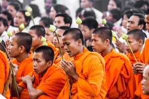 Monks chanting.