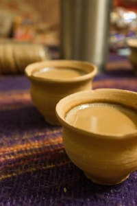 Yummy yummy yummy chai in terracotta cups.