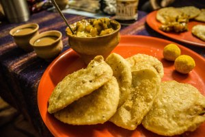 Puri breakfast goodness with chai.