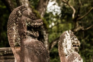 Lion heads. Preah Khan