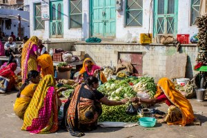 Market near the ghats.