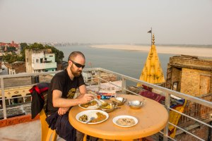 Rooftop meal at our hostel, looking over the Ganga (Ganges).