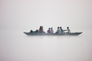 Boat in the morning mist.