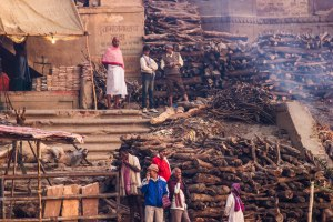 Preparing wood for cremation.