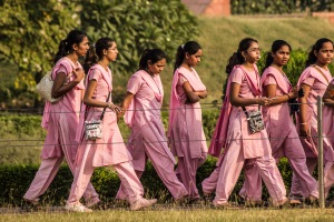 Pink school girls at the Lotus Temple.