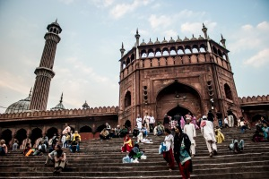 Steps to the Jama Masjid at sundown.