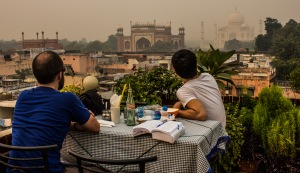 Roof top lunch view of the smoggy Taj Mahal.