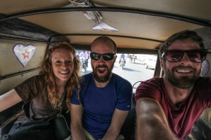 I have an idea! Let's ride for an hour in a rickshaw on a highway!