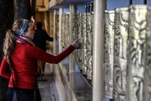 Spinning the prayer wheels. Photo by C.Labrousse.