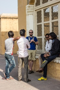 Ryan chillin' with his peeps outside the Amer Fort.